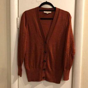 LOFT Rust Button Down Cardigan